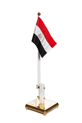 Flagpole with Egypt flag and engraving on two sides of the foot
